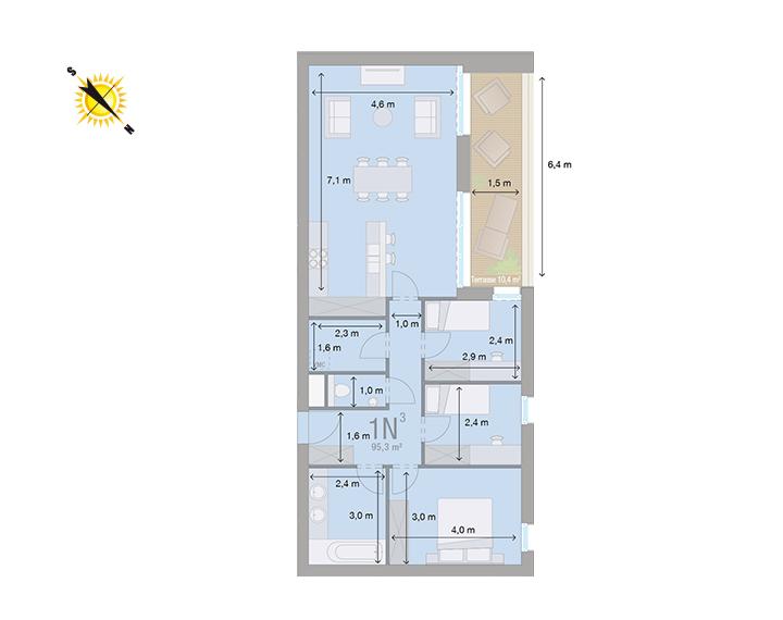 Appartement 1N - Mesures