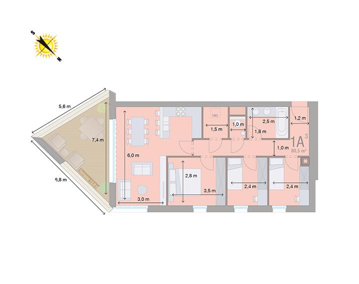 Appartement 1A - Mesures