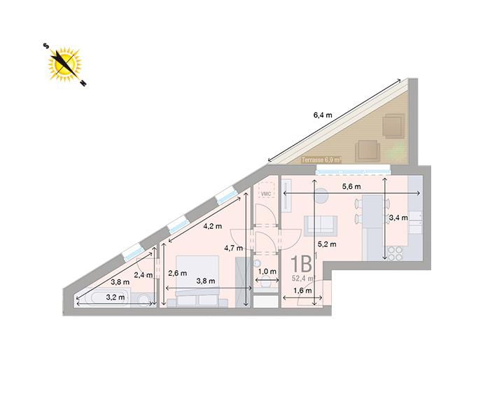 Appartement 1B - Mesures