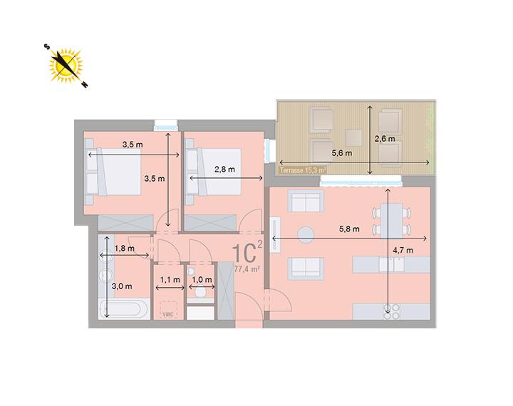 Appartement 1C - Mesures