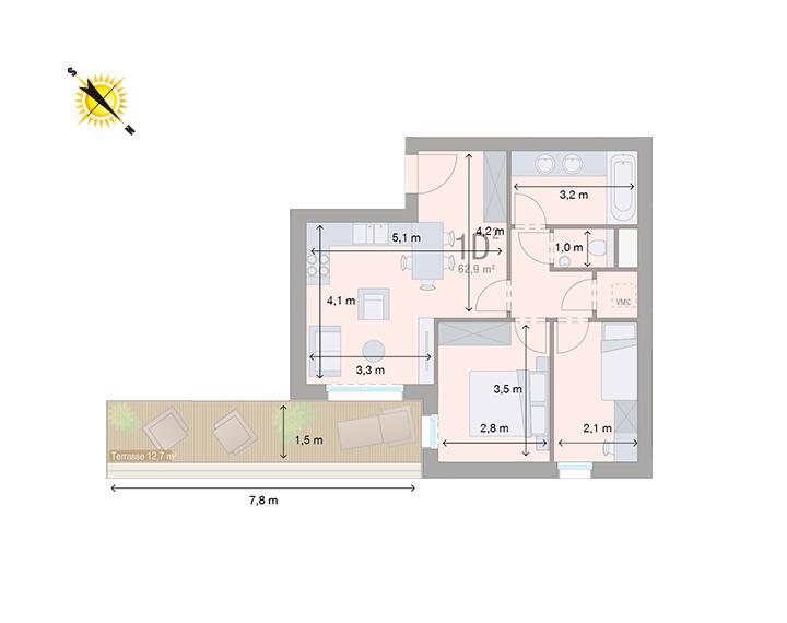 Appartement 1D - Mesures