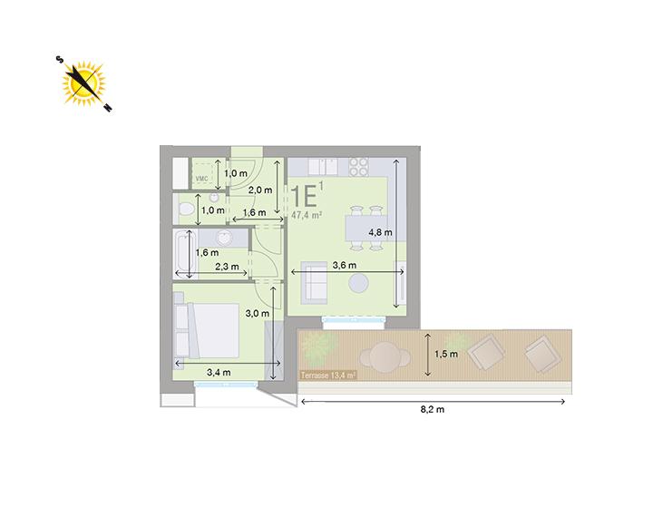 Appartement 1E - Mesures